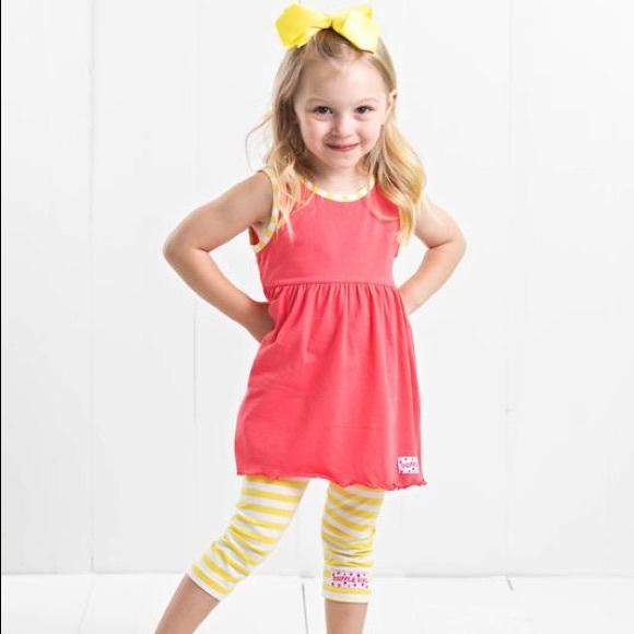 Ruffle Girl Other - Ruffle Girl Coral & Yellow Legging Capri Set
